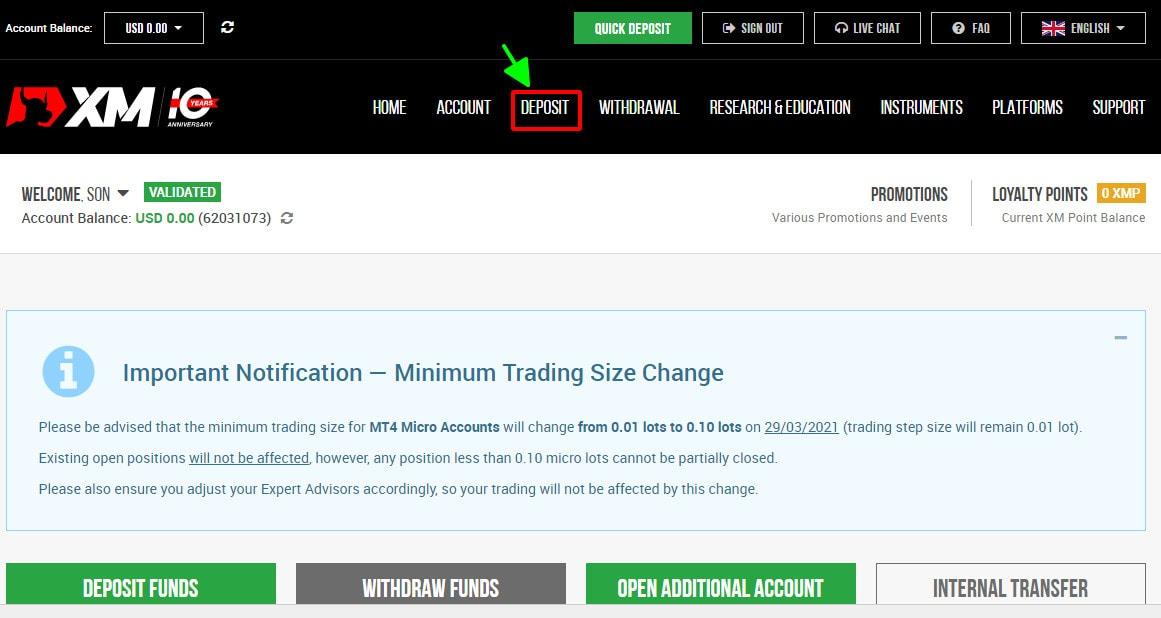 Chọn Deposit trên giao diện trang web