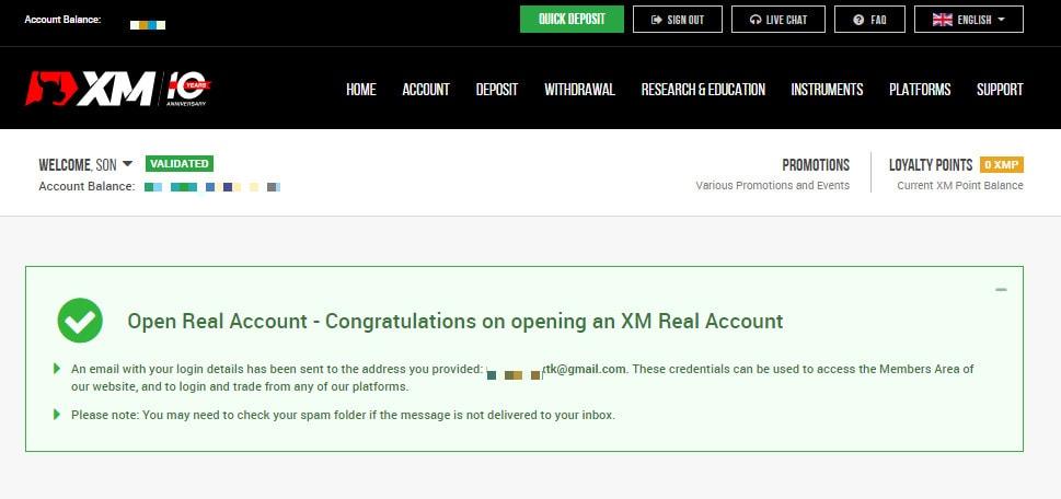 Xác nhận mở tài khoản XM thành công