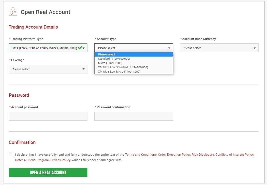 Lựa chọn loại tài khoản giao dịch trên sàn XM