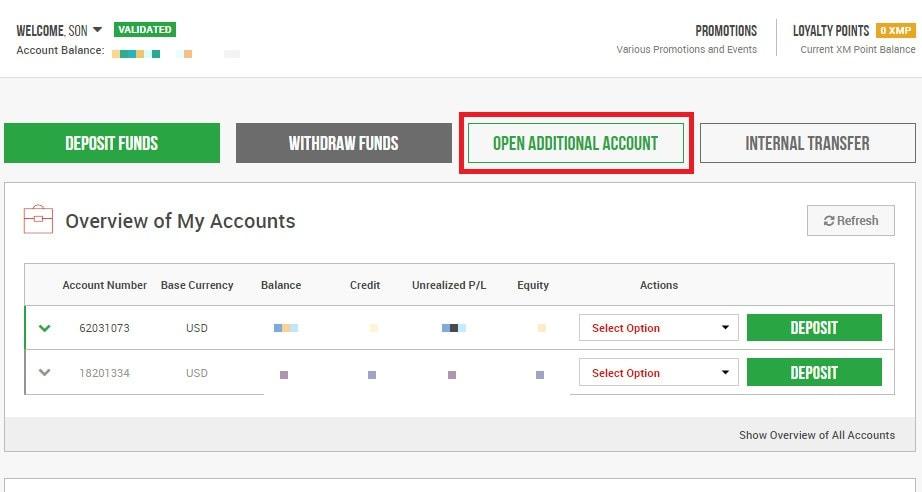 Cách mở thêm tài khoản giao dịch trên sàn Forex XM