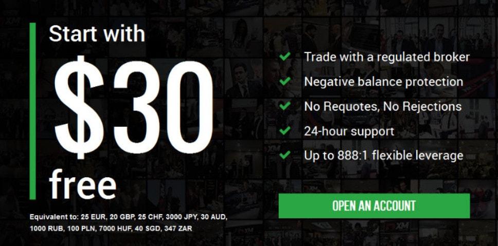 Khuyến mãi 30$ khi đăng kí tài khoản XM