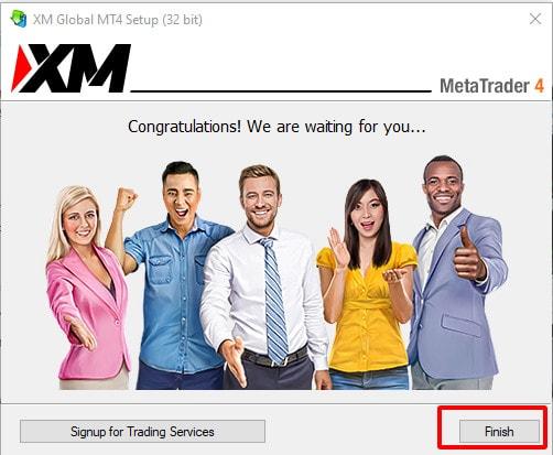 Nhấn Finish để hoàn thành quá trình cài đặt MT4 cho PC/laptop của bạn