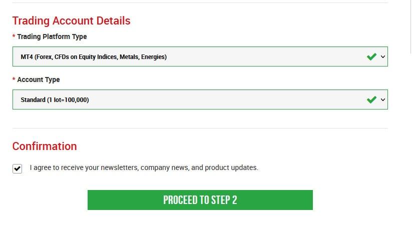Chọn nền tảng (MT4 hoặc MT5) và loại tài khoản giao dịch